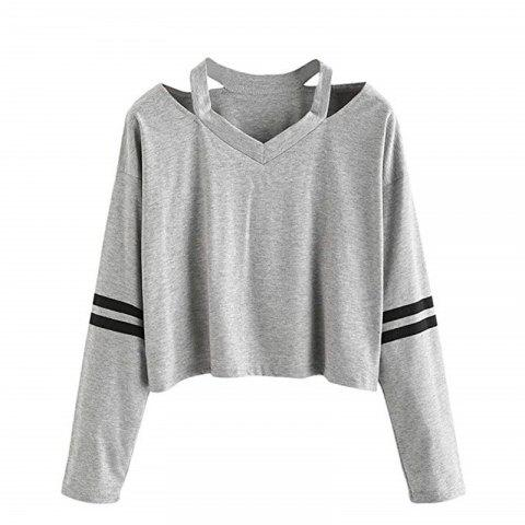 Women Teen Girls Tops Hoodie Sweatshirt Striped Crop Tops Long Sleeve V Neck Cau - DARK GRAY L