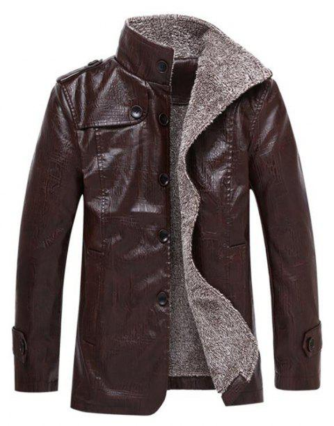 Autumn and Winter Men'S Windbreaker Jacket Large Size Leather Jacket Fur One Lea - COFFEE XL