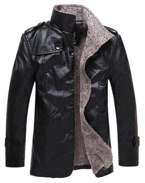 Autumn and Winter Men'S Windbreaker Jacket Large Size Leather Jacket Fur One Lea - BLACK XL