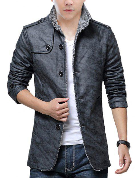 Autumn and Winter Men'S Fur Integrated Leather Clothing Fashion Large Size Jacke - DARK GRAY XS