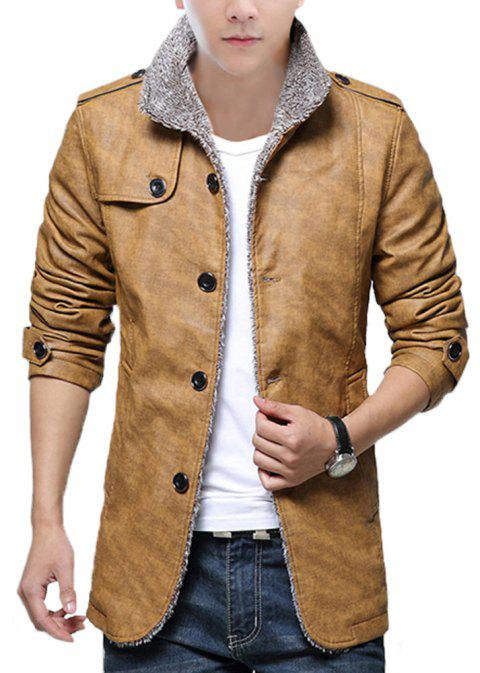 Autumn and Winter Men'S Fur Integrated Leather Clothing Fashion Large Size Jacke - YELLOW L