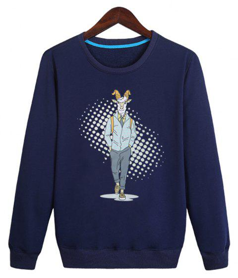 Men'S Round Collar Changxiuweiyi Solid Color Large Size Sweatshirt Jacket - BLUE L