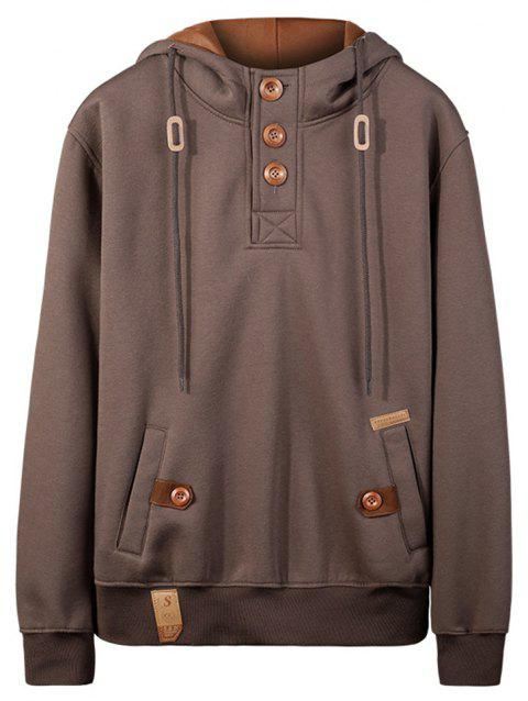 Men'S Jacket with Cap Sweater Jacket Coat Hoodie Sweatshirt - COFFEE 2XL