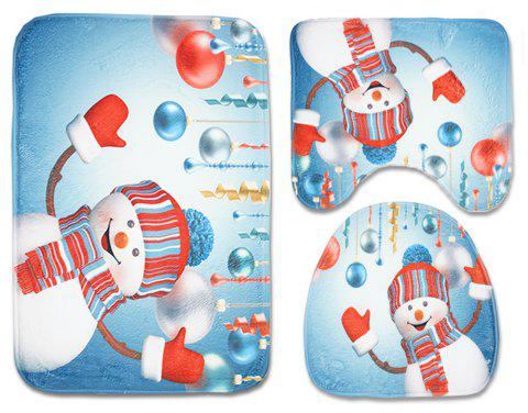 Christmas Toilet Carpet Three-Piece Combination Anti-Slip Mat - DENIM BLUE PACK OF 3