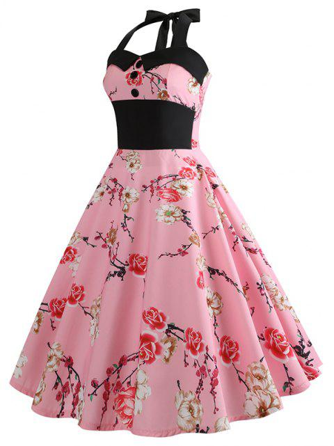 Summer Sleeveless Printing Stitching Necking Big Skirt Dress - PINK L