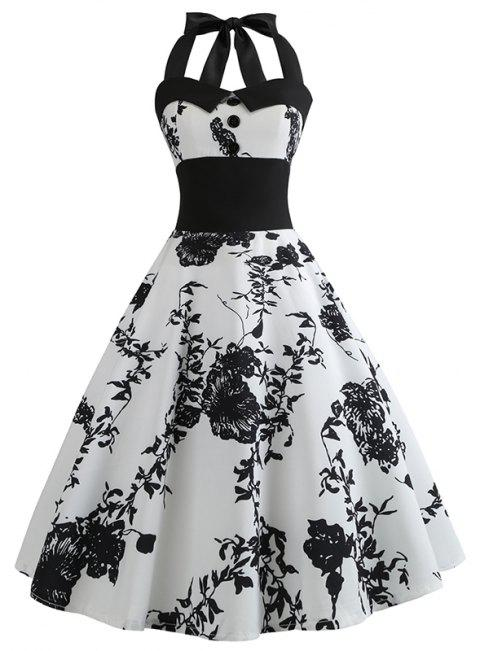Summer Printing Body Repair Waist Big Skirt Dress - BLACK L
