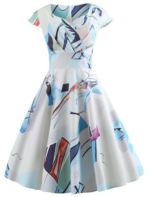 Summer V Casual Printed Large Pendant Dress - LIGHT BLUE L
