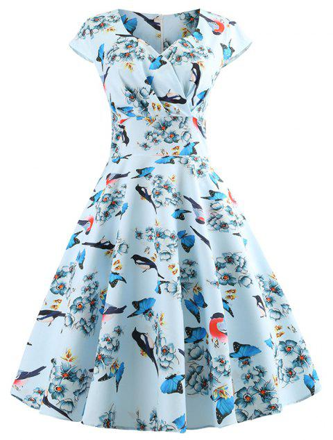 Summer V Short Sleeved Birdie Print Dress - DAY SKY BLUE M