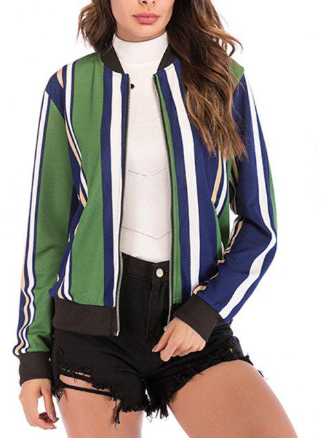 Autumn Collar Collar Stripe Color Zipper Long Sleeve Baseball Coat Jacket Jacket - MEDIUM SPRING GREEN M