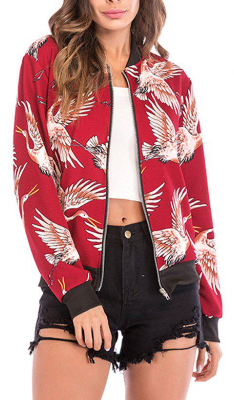 Autumn Collar Collar Bird Pattern Zipper Long Sleeve Baseball Coat Jacket Jacket - RED XL