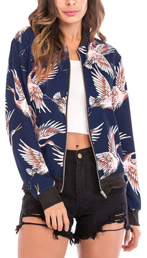 Autumn Collar Collar Bird Pattern Zipper Long Sleeve Baseball Coat Jacket Jacket - DEEP BLUE XL