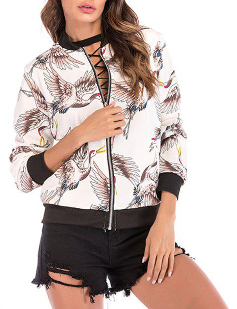 Autumn Collar Collar Bird Pattern Zipper Long Sleeve Baseball Coat Jacket Jacket - WHITE XL