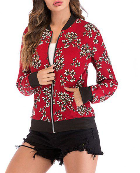 Autumn Collar Small Broken Flower Printed Zipper Long Sleeved Baseball Coat - RED S