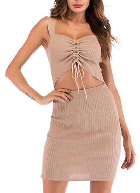 In The Autumn V Collar Tie Is Pleated Pure Color Hip Bottom Sling Dress - APRICOT L