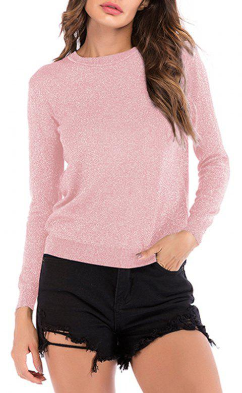 Autumn Round Collar Bright Silk Long Sleeved Knitted Bottoming Sweater - PINK L