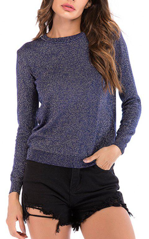 Autumn Round Collar Bright Silk Long Sleeved Knitted Bottoming Sweater - DEEP BLUE M