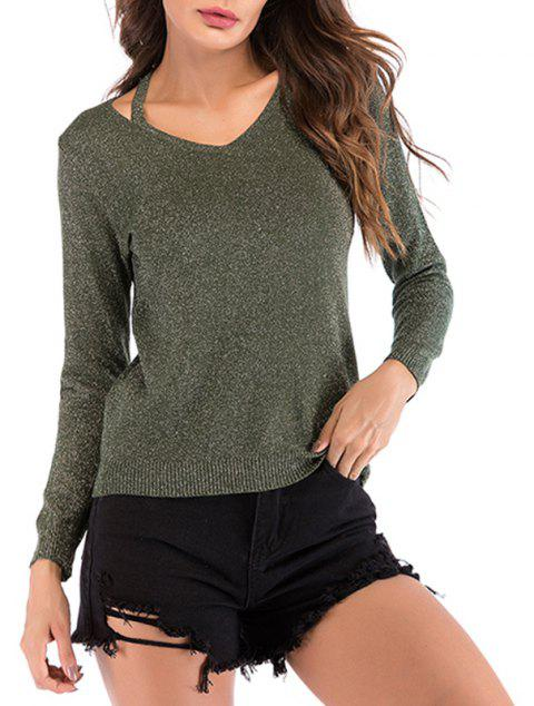 Autumn V Collar Shoulder Strap Bright Silk Sleeved Sweater Long Sleeved Sweater - CAMOUFLAGE GREEN XL