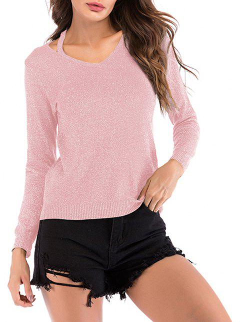 Autumn V Collar Shoulder Strap Bright Silk Sleeved Sweater Long Sleeved Sweater - PINK L