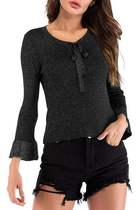Autumn V Lace Long Sleeved Knitwear Sweater - BLACK L