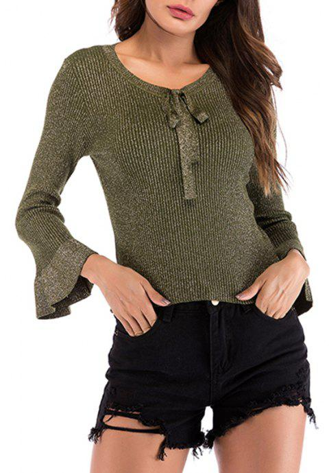 Autumn V Lace Long Sleeved Knitwear Sweater - CAMOUFLAGE GREEN M