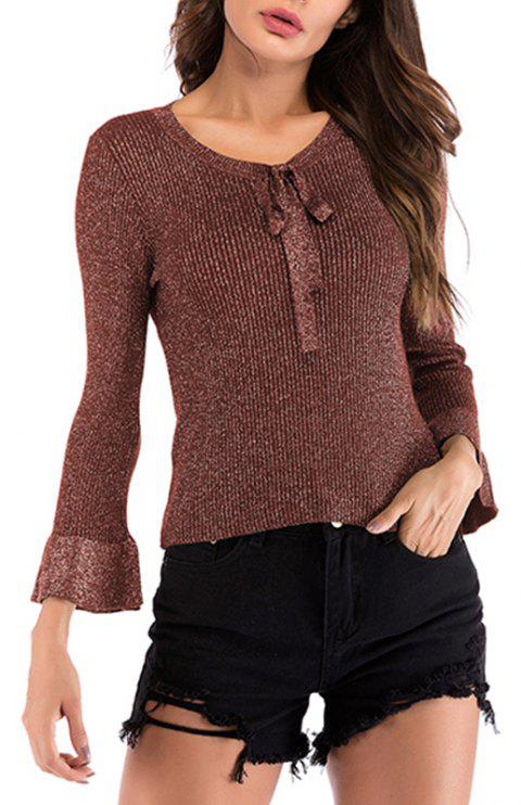 Autumn V Lace Long Sleeved Knitwear Sweater - RED WINE L