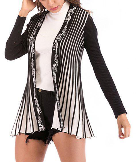 Autumn long Pressed Fold Color Matching Embroidered Knitted Cardigan Coat - BLACK XL