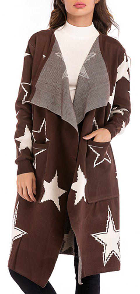 Long Wear Long Sleeved Knitted Coat for Ladies in Autumn - COFFEE XL