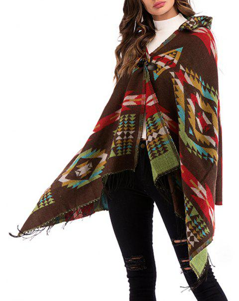 Autumn Geometric Pattern Fringes Knitted Shawls Cardigan Blouses - COFFEE ONE SIZE