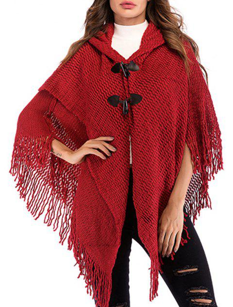 Autumn Leisure Loose Knitted Shawl Cardigan Blouse - RED WINE ONE SIZE