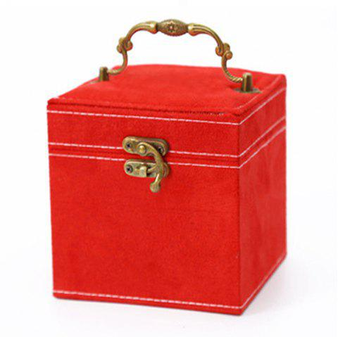 The Princess European Jewelry Box Three Layers of Cosmetic Boxes Cosmetic Box - RED 1PC