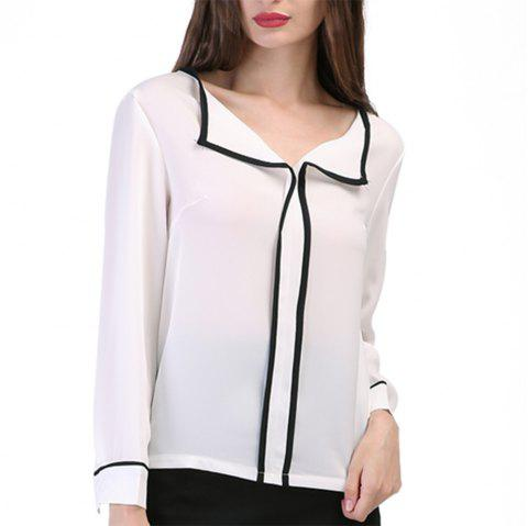 Temperament Wild Long-Sleeved Chiffon Shirt - WHITE 2XL
