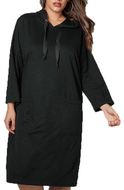 Sports and Leisure Hooded Long Sweater - BLACK 2XL
