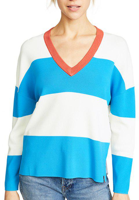 Plus V-Neck Hit-Knit Stitching Sweater - multicolor A XL