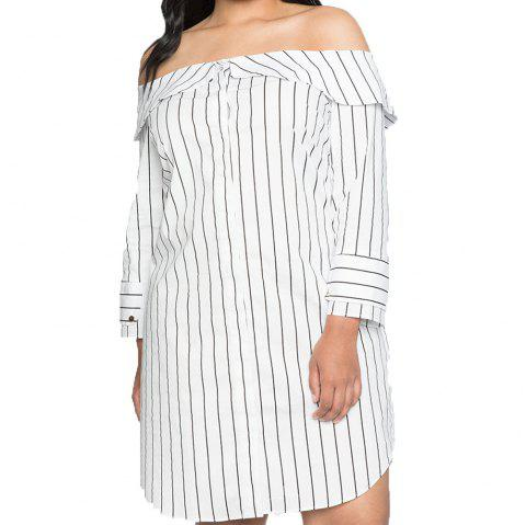One-Necked Strapless Long-Sleeved Vertical Striped Dress - CRYSTAL CREAM 4XL