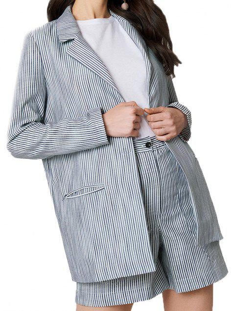 Stripe Detailed Jacket Suit - GRAY GOOSE L