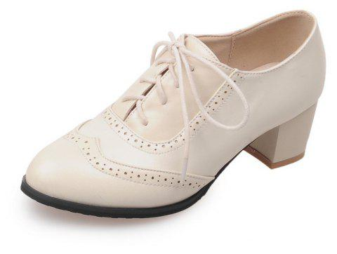 Women Shoes with Medium Round Head Middle Opening - WARM WHITE EU 42