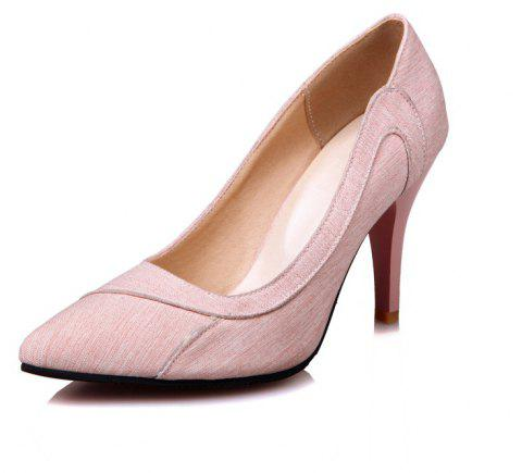 High Heeled Pointy Cloth Dinner Party Women Shoes - LIGHT PINK EU 42