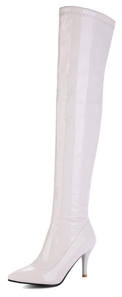 Top Zipper Red Wedding Club Over Knee Boots - WHITE EU 35