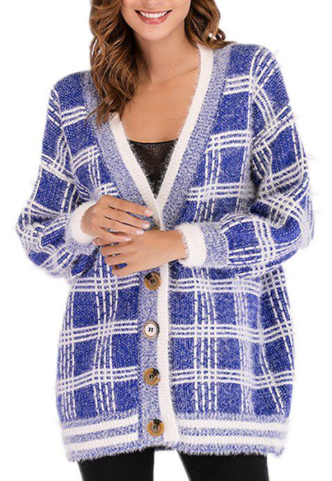 V Long Sleeve Loose Checked Sweater Coat - BLUE ONE SIZE