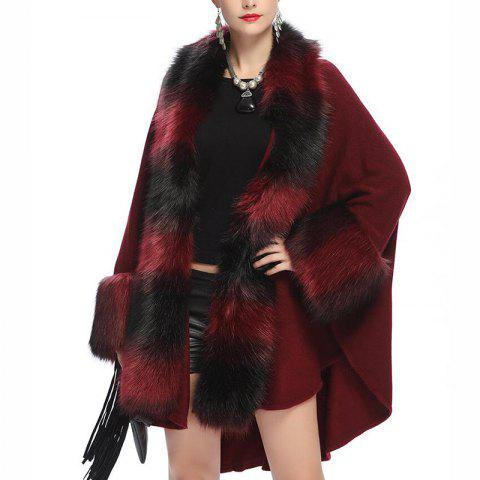 Women's Fashion Loose Top Grade Stripes Faux Fur Shawl Coat - RED WINE ONE SIZE