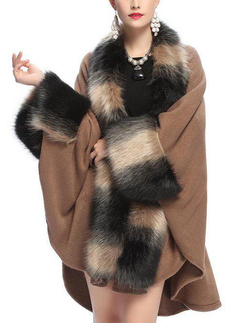 Women's Fashion Loose Top Grade Stripes Faux Fur Shawl Coat - TAN ONE SIZE
