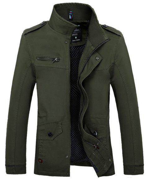 New Spring Autumn Winter Fashion Men Jacket Slim Causal Cotton Jacket - DEEP GREEN S
