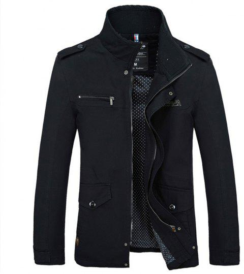 New Spring Autumn Winter Fashion Men Jacket Slim Causal Cotton Jacket - BLACK M