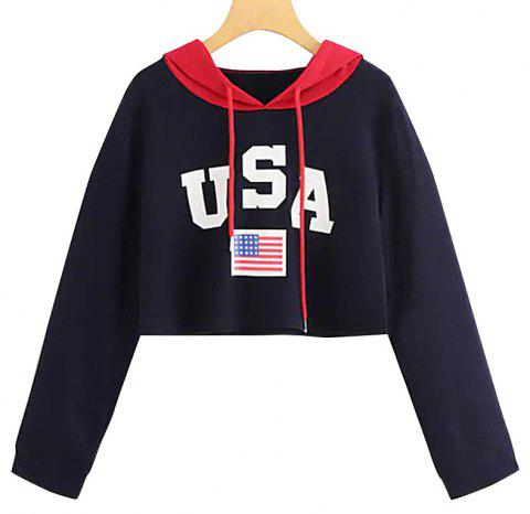 Long Sleeve Letter Hooded Flag Sweater - DEEP BLUE M