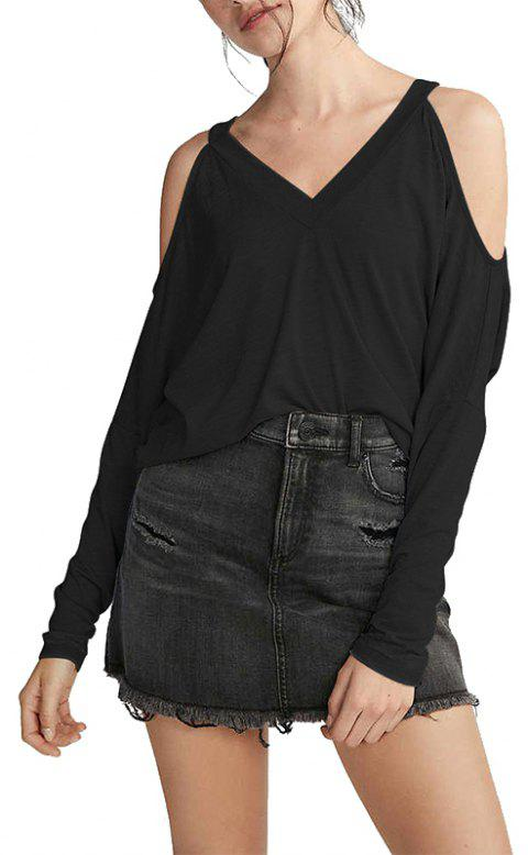 Fashion Strapless Solid Color Long-sleeved T-shirt - BLACK M