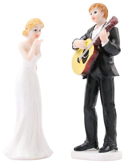 Play The Guitar The Bride The Groom Cake Topper Ornaments Decoration - BLACK