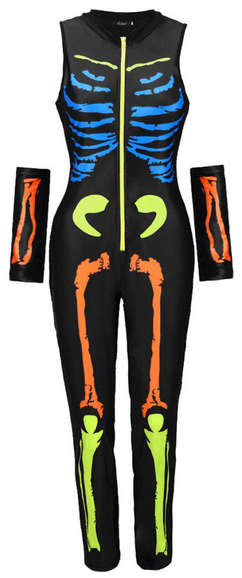 Halloween Skeleton Skeleton Suit - SUN YELLOW XL