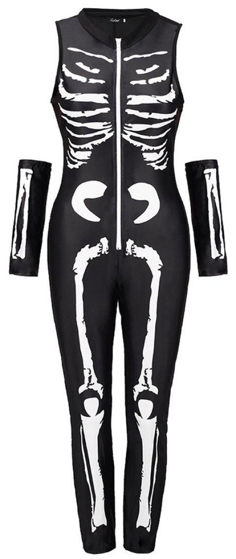 Halloween Skeleton Skeleton Suit - MILK WHITE L