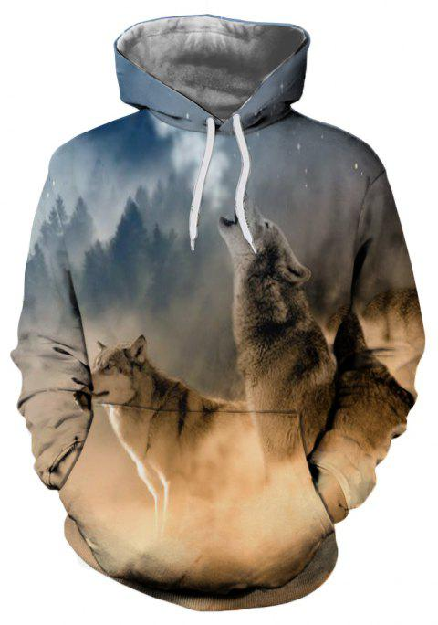 Men's Fashion 3D Dusk Landscape Wolf Print Patch Pocket Hoodie Sweater - multicolor M