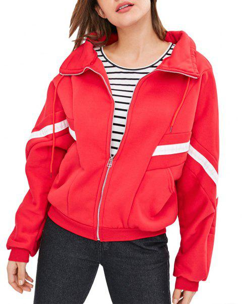 Women's Casual Color Block Stand Collar Long Sleeve Zipper Coat - RED M